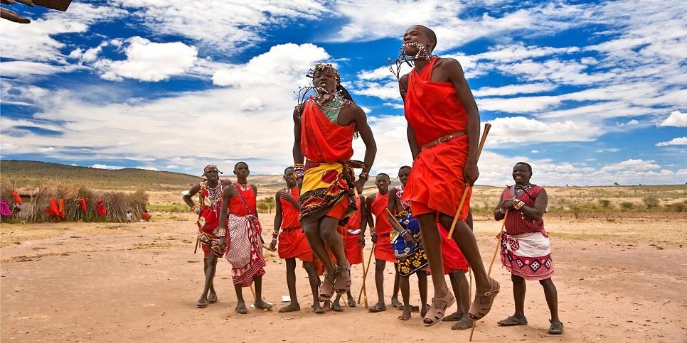 Maasai Warriors Dancing, Maasai Mara National Reserve, Kenya