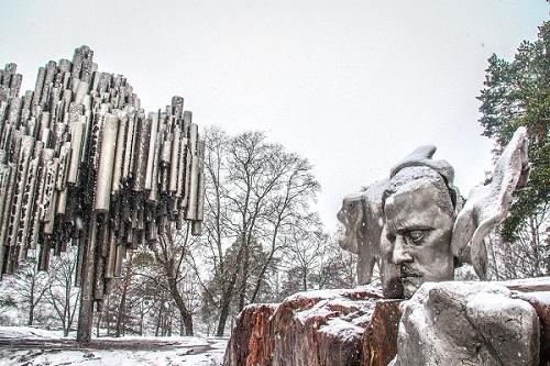 Helsinki, Finland - March 03, 2014 - Sibelius monument, the monument of the Finnish composer Jean Sibelius was designed by Eila Hiltunen and inaugurated in 1967.